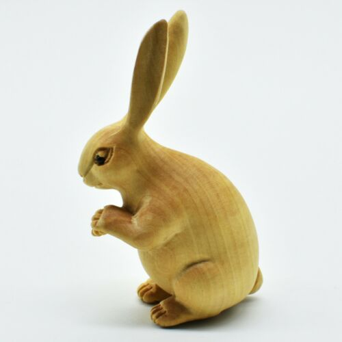 "Hand Carved Japanese Boxwood Netsuke Long Ear Rabbit Stand Height 2.6"" Original"