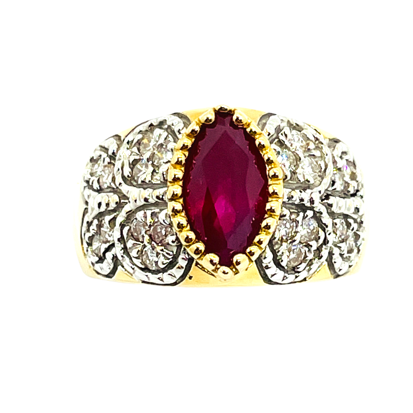14k Solid Gold Genuine Ruby & Diamond Ring