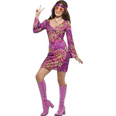 Woodstock Hippie Chick Costume Multi-Coloured Womens Ladies Fancy Dress Costume (Hippie Chick)