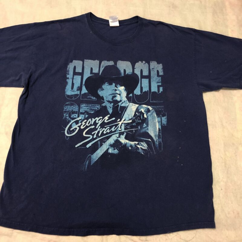 George Strait Tour Shirt XL Blue Vintage 90s