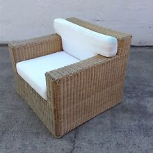 WICKER CANE RATTAN LOUNGE CHAIR VGC Southport Gold Coast City Preview