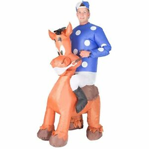 Adult Funny Inflatable Horse Jockey Carry Ride On Costume Outfit Suit Halloween