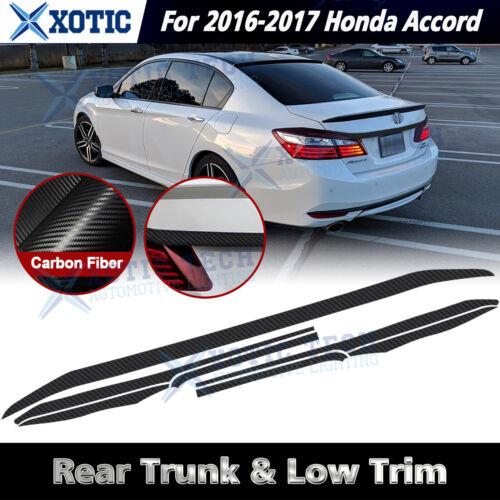 Car Parts - Chrome Delete Blackout Trunk Overlay For 2016 17 Honda Accord Sedan Carbon Vinyl