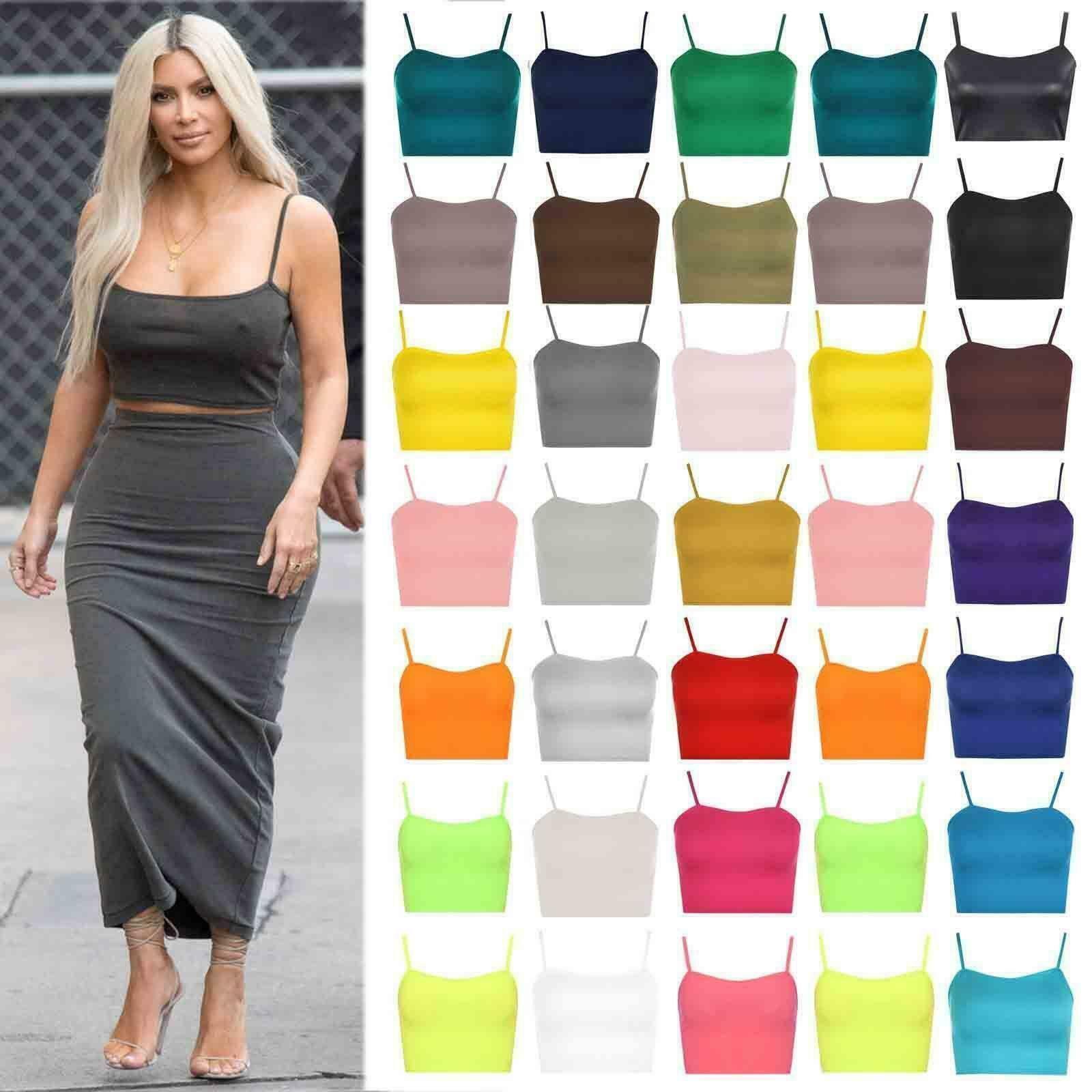 Women Fluorescent Color Strappy Bra Tank Vest Cami Bralet Blouse Shirt Crop Tops