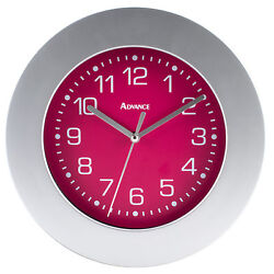 8019 Advance Time Technology 9 Silver Plastic Frame Analog Quartz Wall Clock