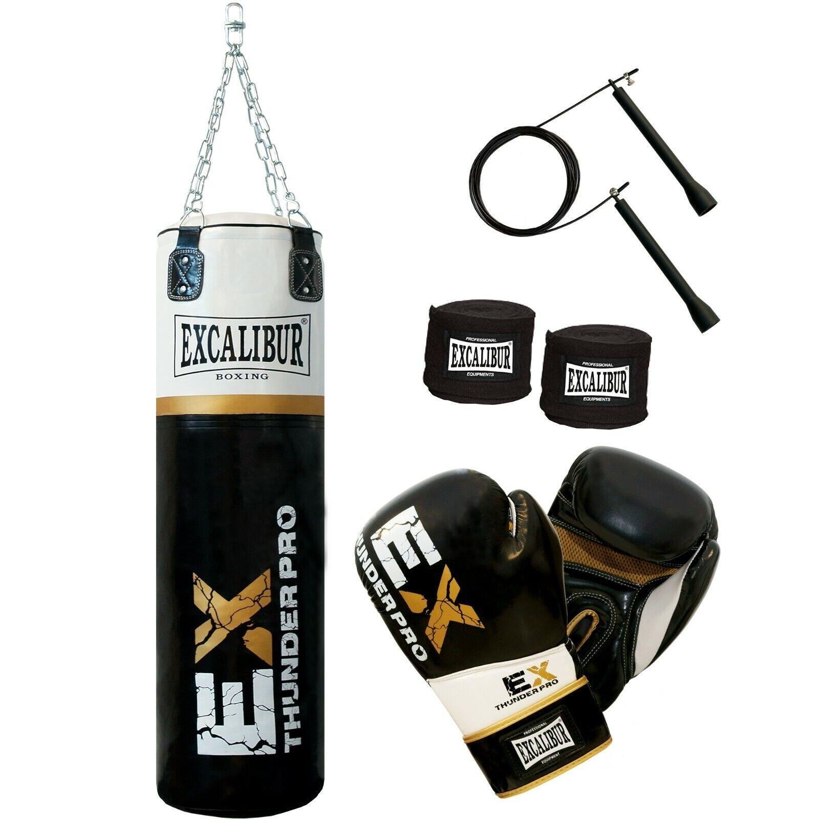 EXCALIBUR Boxset THUNDER Pro - Boxsack, Boxhandschuhe 12 oz, Boxbandagen + Seil