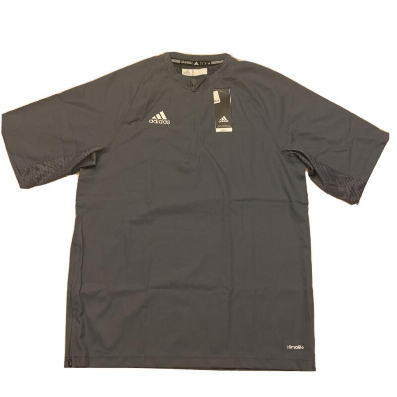 Adidas Mens Climalite Fielders Choice SS 1/4 Zip Batting Jacket Gray Small