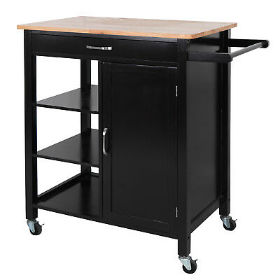 Accessible Kitchen Storage Cart Island w/ Rubber Wood Countertop Block on Wheel