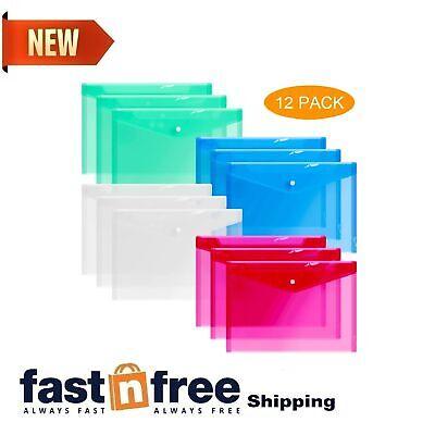 12 X Plastic Envelopes Clear Document Folders Transparent A4 Letter Size 4Colors
