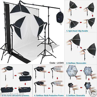 Photography Studio Lighting Softbox Photo Light Muslin Backdrop Stand Kit