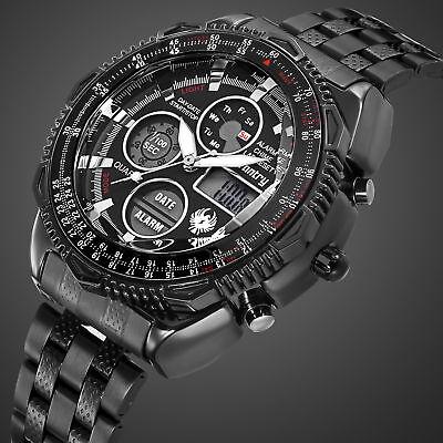 INFANTRY Mens Digital Quartz Wrist Watch Sport Chronograph Black Stainless Steel