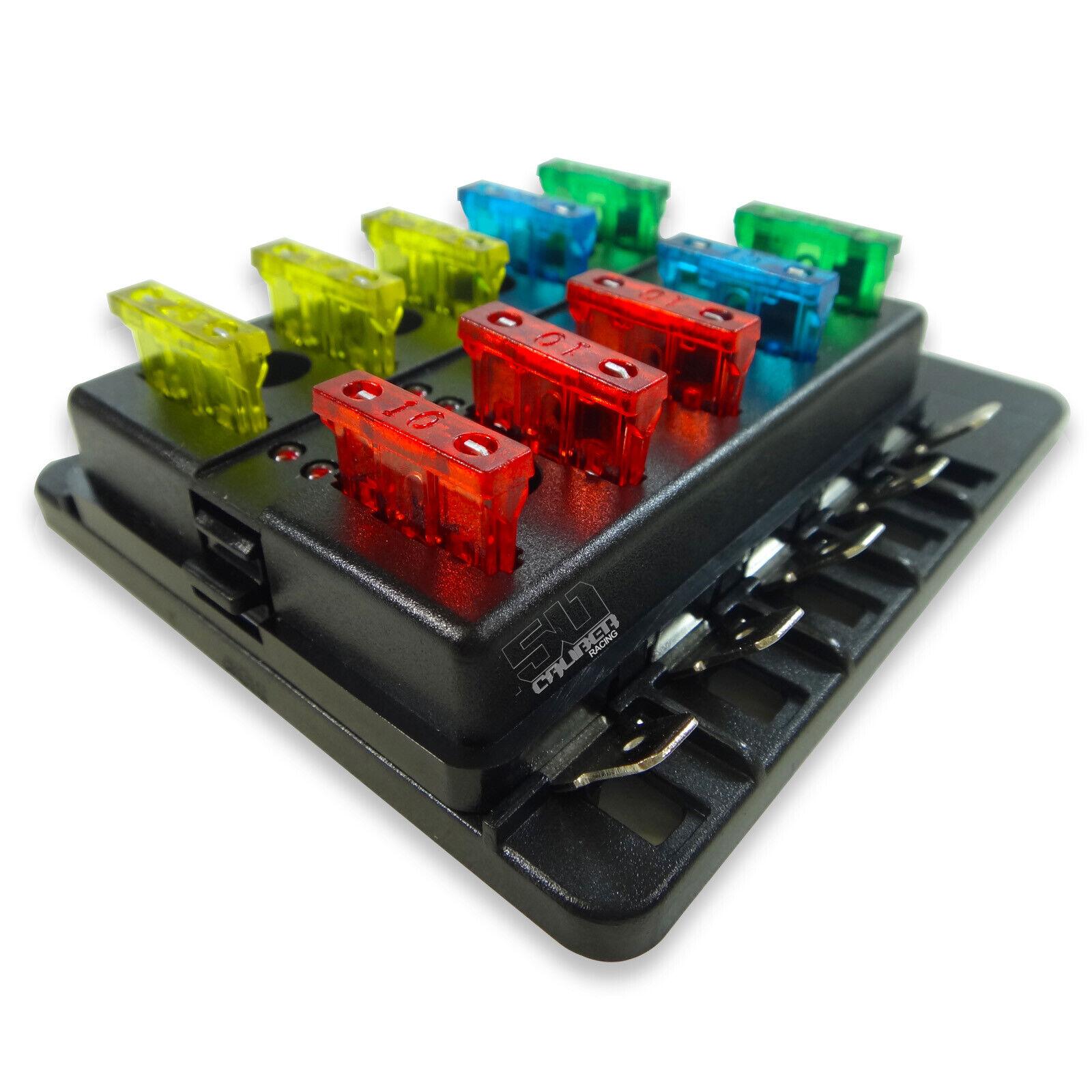 10Way 12V Blade Fuse Box Distribution Block Kit LED RZR Wildcat Rhino Viking X3