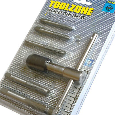 Engineers Tap Set. 5 Metric Thread Taps M6-M12 re-threading tool set inc wrench