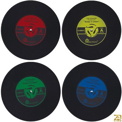 SET OF 4 Vinyl Records Coasters Silicone Non-slip Washable Safe Music Gift Drink