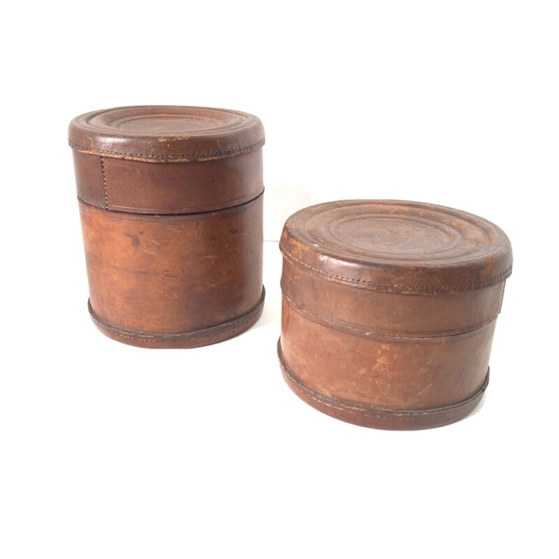 Lot Of 2 Antique Round Leather Collar Box Embossed London