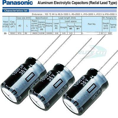 3pk Panasonic Fr Series 1000uf 35v - Electrolytic Radial Capacitors 12.5 X 22mm