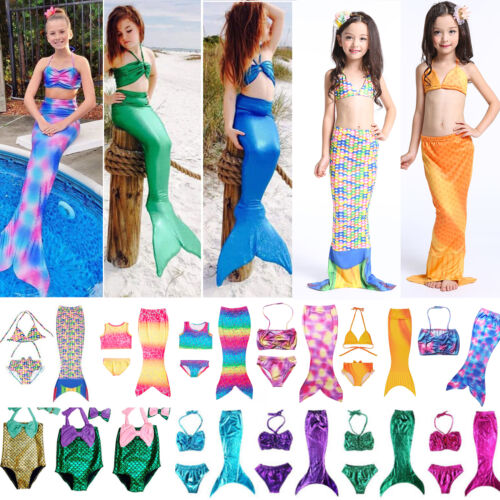 Kids Girls Mermaid Tail Swimmable Swimwear Bikini Set Beach