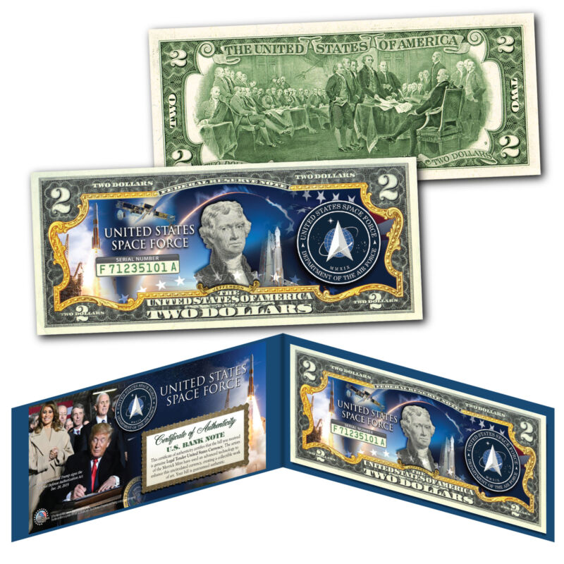 United States Space Force USSF 6th Military Branch Authentic U.S. $2 Bill