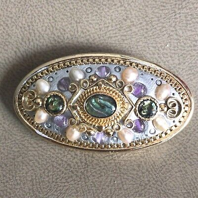 Michal Golan Brooch Pin Abalone, Amethyst, Fresh Water Pearls 24 K Gold Electrop for sale  Flint