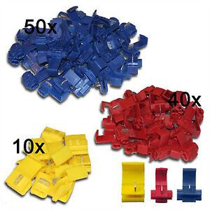 100pcs Abzweigverbinder Kabelverbinder Schnellverbinder Stromdiebe rot blau gelb