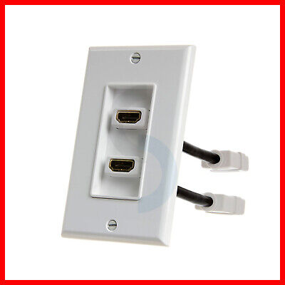 Used, HDMI Wall Plate with 4 inches Extension Cable 2 HDMI Port Wall Plate for sale  Shipping to India
