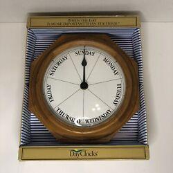 Classic Oak Day of the Week Wall Clock
