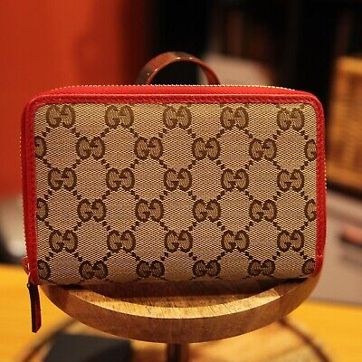 Authentic Gucci Canvas GG Print Zip around wallet with Red trim, US Seller