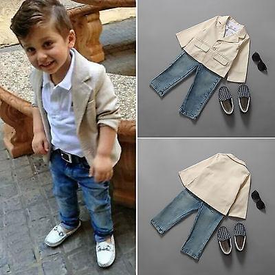3tlg Kind Baby Jungen Blazer Mantel + Lang Shirt + Denim Jeans Hose Anzug Outfit