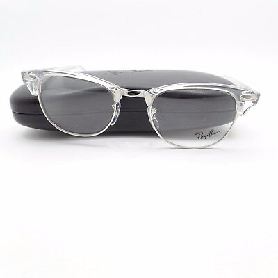 Ray Ban Clubmaster 5154 2001 White Transparent Silver Frame New (White Clubmasters)