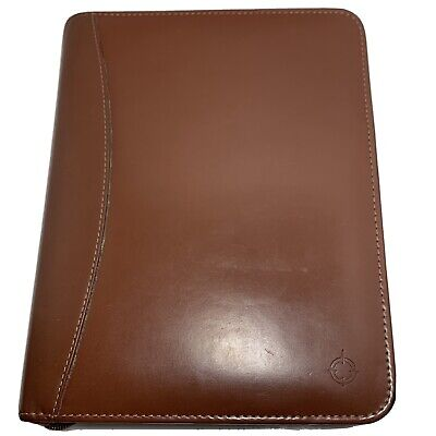 Classic 1.5 Franklin Covey 7 Ring Full Grain Leather Zip Planner Brownburgundy