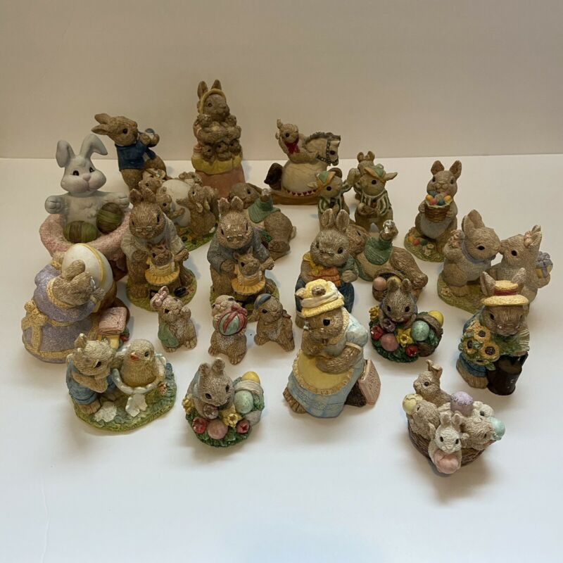 United Design Easter Bunny Family Lot Of 23 Bunny Figurines + 1 Add'l Bunny