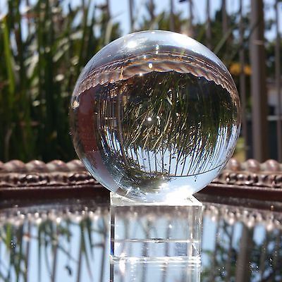 Clear Crystal Quartz Healing Ball Sphere 80mm With Elegant Crystal Stand