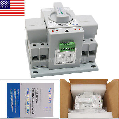 Automatic Transfer Switch 2p 63a 110v Toggle Switch Dual Power Gcq2-632p Us
