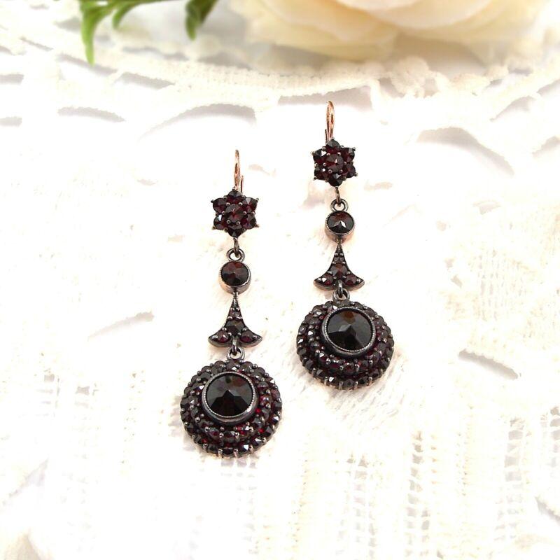 Impressive Bohemian long pending garnet earrings ГРАНАТ 181112d
