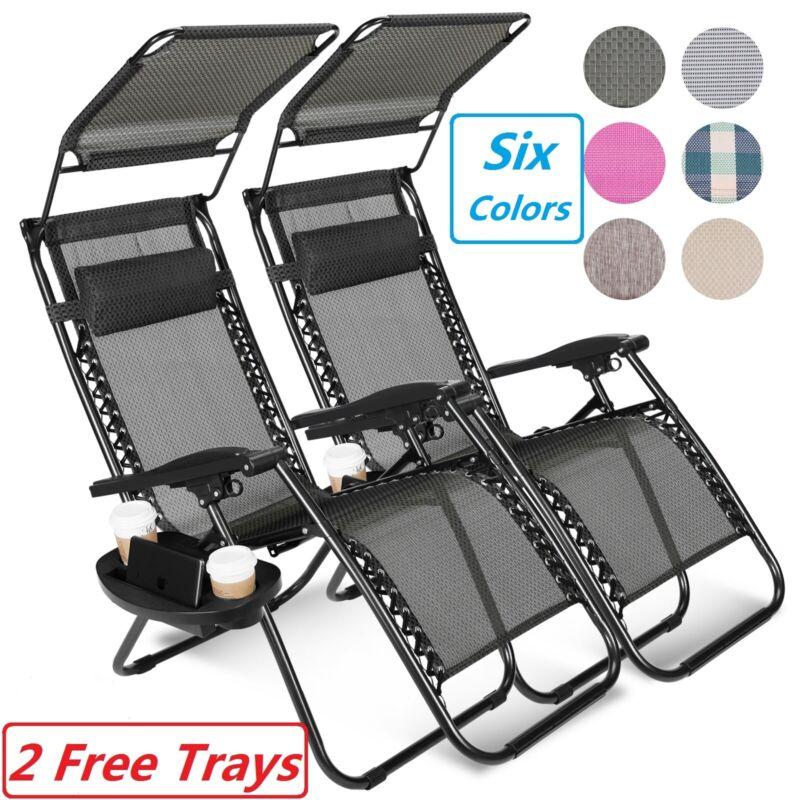 2 Zero Gravity Reclining Chairs Folding Garden Lounge Outdoor Beach Lawn W/Trays