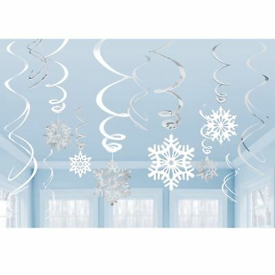 6 Frozen Winter Wonderland Assorted Snowflake Hanging Party Swirls Decoration
