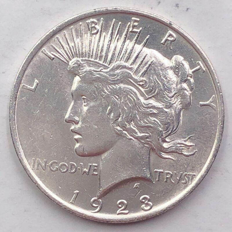 1923 AU PEACE SILVER DOLLAR 90 SILVER 1 COIN US SA81 - $34.00