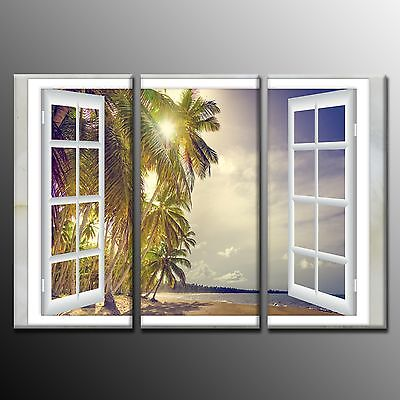 Wall Art Beach Coconut Tree Outside Window Canvas Print Painting Art-3p No Frame Beach Outdoor Canvas Painting