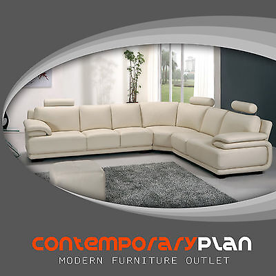 Modern Cream Leather Sectional L Shaped Italian Leather Sectional Sofa NEW A31 Cream Leather Sectional Sofa