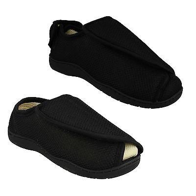 Herren Einfach Schwarz Memory Foam Spot On Breite Passform Pantoffeln Size 3