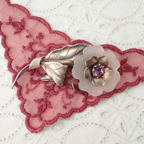 VTG Carl Art Frosted Molded Glass Purple Crystal Spinning Sterling Flower Pin