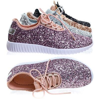 Remy18k Lace up Rock Glitter Fashion Sneaker For Children / Girl / Kids - Glitter Shoes Girls