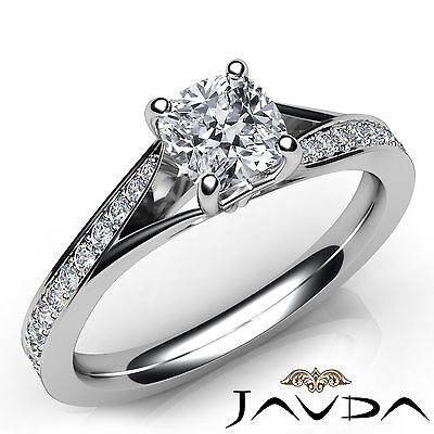 Split Shank 100% Natural Cushion Diamond Engagement Pave Ring GIA F VVS2 1.06Ct