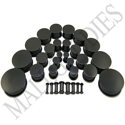V093 Black Acrylic Single Flare Ear Plugs 10G to 2