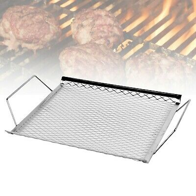 30cm Stainless Steel BBQ Grill Mesh Wire Topper Easy Removal Handles Outdoor NEW