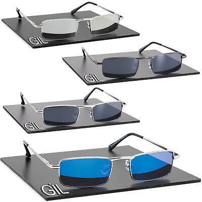 Schmale Biker Sonnenbrille Herren Damen Blau Silber Verspiegelt 100% UV 400