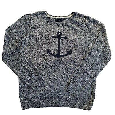 Nautica Navy Anchor Nautical Sweater Size M Button Shoulder Pullover