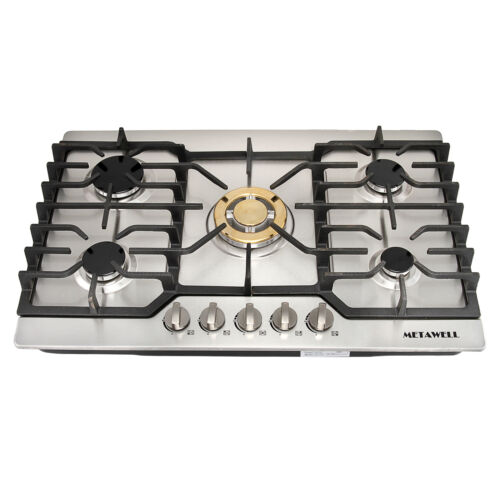 "30"" Stainless Steel Built-in 5 Burners Gas Cooktop LPG NG Ga"