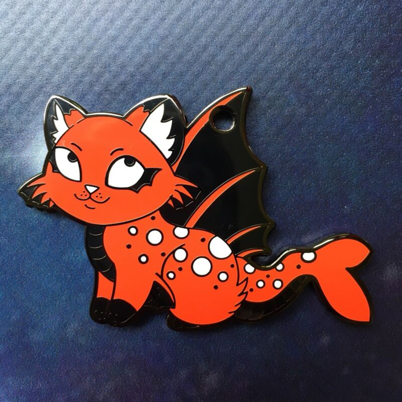 Fire Purrmaid Geocoin Kitty Cat Mermaid Trackable Geocaching