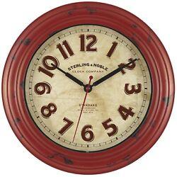 Red Distressed Art Deco 12 Round Wall Clock Arabic Numerals Modern Rustic-NEW